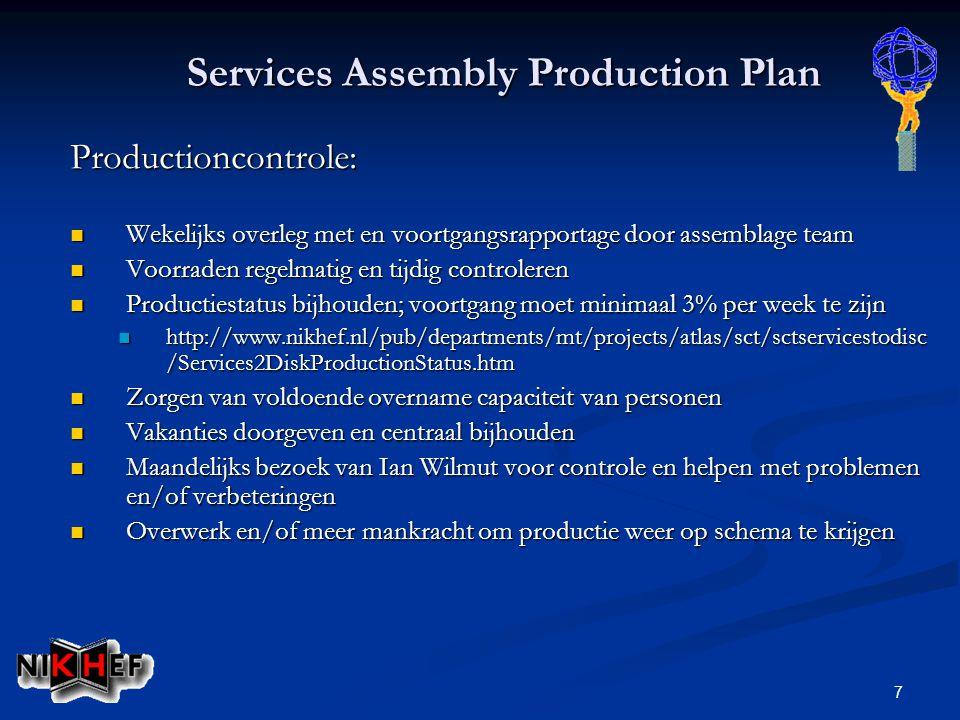 7 Services Assembly Production Plan Productioncontrole: Wekelijks overleg met en voortgangsrapportage door assemblage team Wekelijks overleg met en voortgangsrapportage door assemblage team Voorraden regelmatig en tijdig controleren Voorraden regelmatig en tijdig controleren Productiestatus bijhouden; voortgang moet minimaal 3% per week te zijn Productiestatus bijhouden; voortgang moet minimaal 3% per week te zijn http://www.nikhef.nl/pub/departments/mt/projects/atlas/sct/sctservicestodisc /Services2DiskProductionStatus.htm http://www.nikhef.nl/pub/departments/mt/projects/atlas/sct/sctservicestodisc /Services2DiskProductionStatus.htm Zorgen van voldoende overname capaciteit van personen Zorgen van voldoende overname capaciteit van personen Vakanties doorgeven en centraal bijhouden Vakanties doorgeven en centraal bijhouden Maandelijks bezoek van Ian Wilmut voor controle en helpen met problemen en/of verbeteringen Maandelijks bezoek van Ian Wilmut voor controle en helpen met problemen en/of verbeteringen Overwerk en/of meer mankracht om productie weer op schema te krijgen Overwerk en/of meer mankracht om productie weer op schema te krijgen