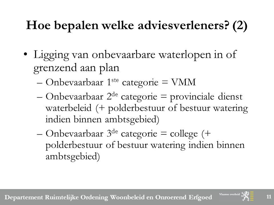 Departement Ruimtelijke Ordening Woonbeleid en Onroerend Erfgoed 11 Hoe bepalen welke adviesverleners.