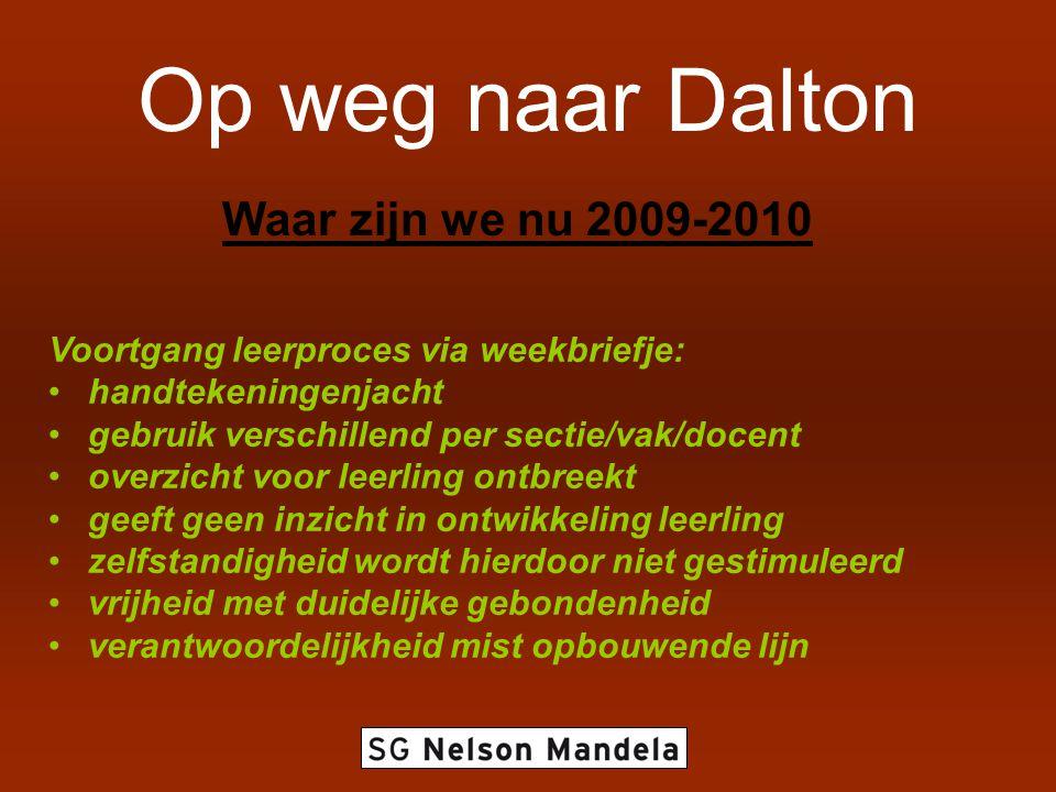 Op weg naar Dalton Waar zijn we nu 2009-2010 Voortgang leerproces via weekbriefje: handtekeningenjacht gebruik verschillend per sectie/vak/docent over