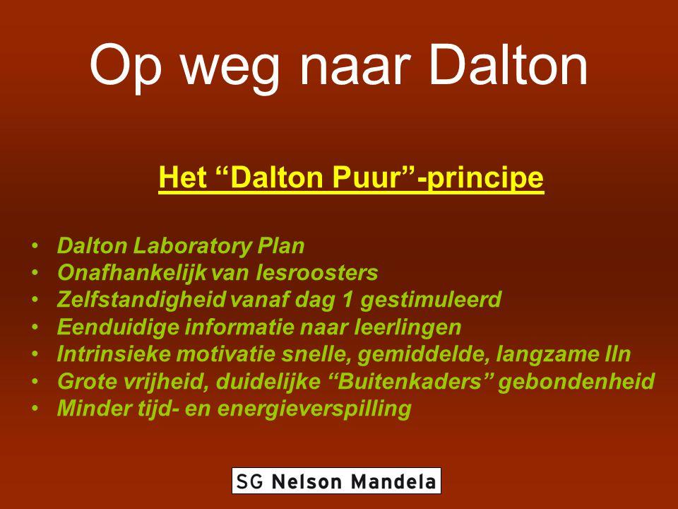 Op weg naar Dalton Het Dalton Puur -principe Dalton Laboratory Plan Onafhankelijk van lesroosters Zelfstandigheid vanaf dag 1 gestimuleerd Eenduidige informatie naar leerlingen Intrinsieke motivatie snelle, gemiddelde, langzame lln Grote vrijheid, duidelijke Buitenkaders gebondenheid Minder tijd- en energieverspilling