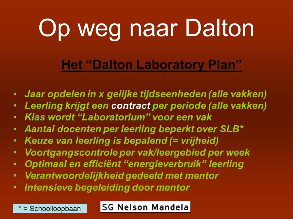 """Op weg naar Dalton Het """"Dalton Laboratory Plan"""" Jaar opdelen in x gelijke tijdseenheden (alle vakken) Leerling krijgt een contract per periode (alle v"""