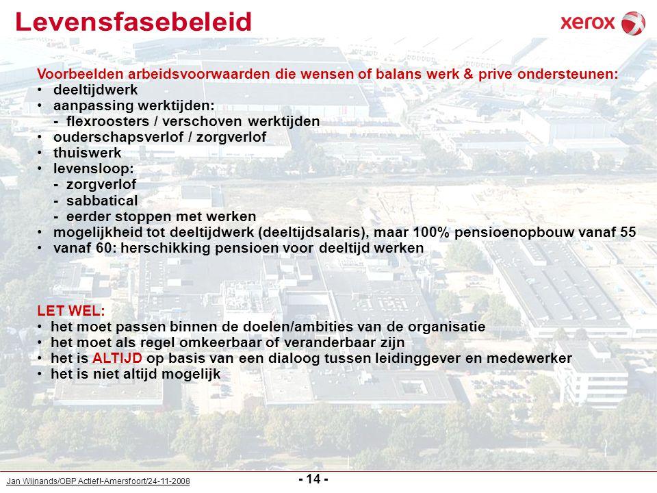Jan Wijnands/OBP Actief!-Amersfoort/24-11-2008 - 14 - Voorbeelden arbeidsvoorwaarden die wensen of balans werk & prive ondersteunen: deeltijdwerk aanp