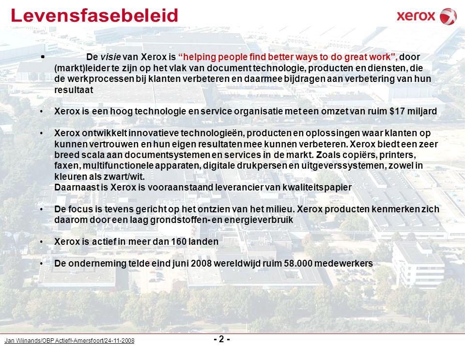 Jan Wijnands/OBP Actief!-Amersfoort/24-11-2008 - 13 - Voorbeelden: Nieuwe uitdagingen op eigen verzoek (herplaatsing gelijk niveau en/of promotie): van Techniek naar Logistiek van Logistiek naar HR van HR naar Inkoop van Logistiek naar Finance van Productie naar HR van Finance naar Productie Combinatie in- en externe functie (soms in aanloop naar volledige externe job): deeltijd wethouderschap en deeltijdfunctie Xerox deeltijdfunctie onderwijs en deeltijdfunctie Xerox deeltijd eigen bedrijf en deeltijdfunctie Xerox NB: mogelijk terugkeergarantie binnen bepaalde periode indien externe job/bedrijf niet succesvol is Mobiliteit: stages andere afdelingen/business units uitwisseling met of overstap naar andere Xerox vestigingen tijdelijke vacatures ook in te vullen door vaste medewerkers (niet alleen door uitzendkrachten) externe oriëntatie en ondersteuning bij vinden passende job buiten Xerox