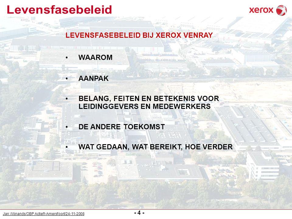 Jan Wijnands/OBP Actief!-Amersfoort/24-11-2008 - 5 - Nederland: - ontgroening en vergrijzing - marktontwikkeling - overheidsbeleid gericht op arbeidsparticipatie - wijziging in wetgeving: VPL, WW, WIA Xerox Venray: - relatief hoge leeftijden - beperkte aanname - laag verloop