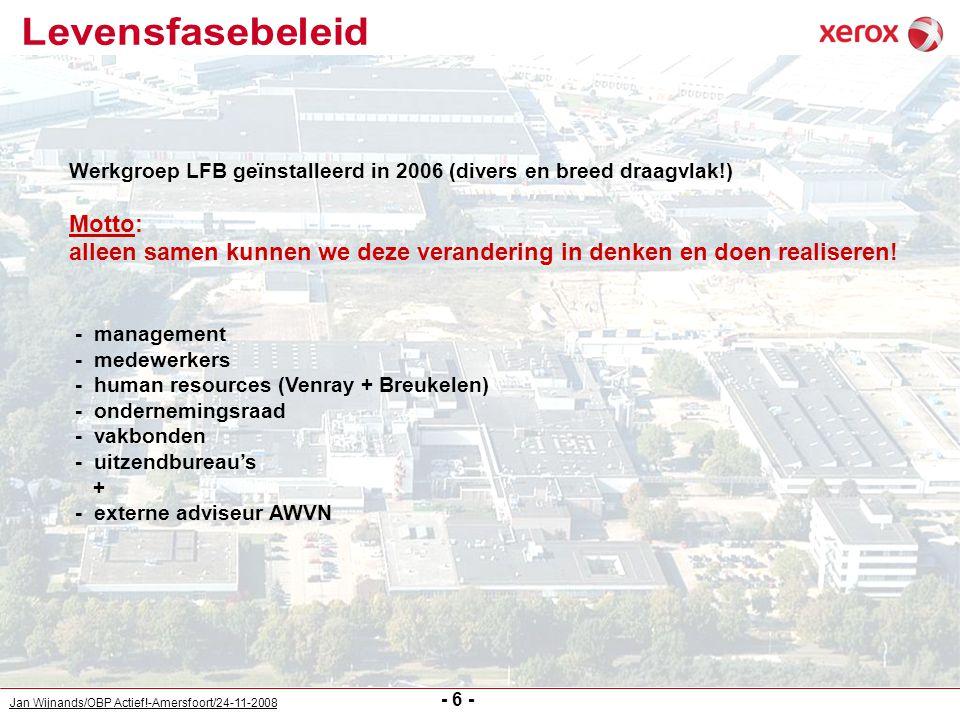 Jan Wijnands/OBP Actief!-Amersfoort/24-11-2008 - 6 - Werkgroep LFB geïnstalleerd in 2006 (divers en breed draagvlak!) Motto: alleen samen kunnen we de