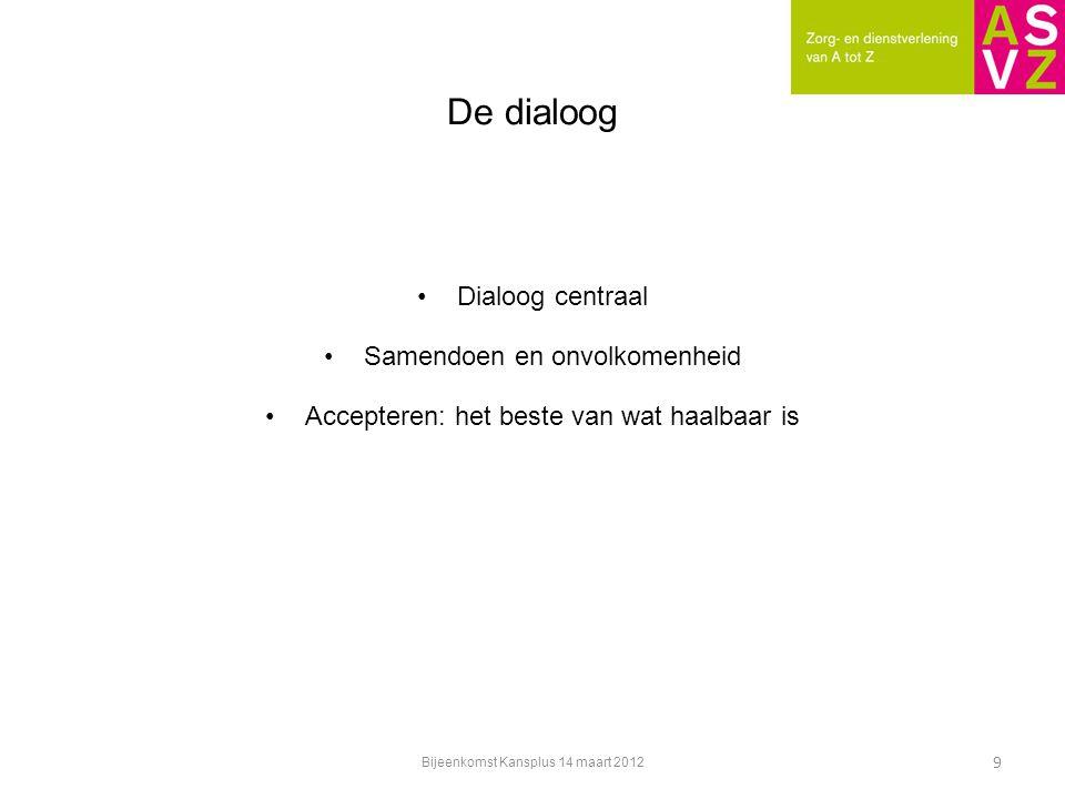 De dialoog Dialoog centraal Samendoen en onvolkomenheid Accepteren: het beste van wat haalbaar is 9 Bijeenkomst Kansplus 14 maart 2012