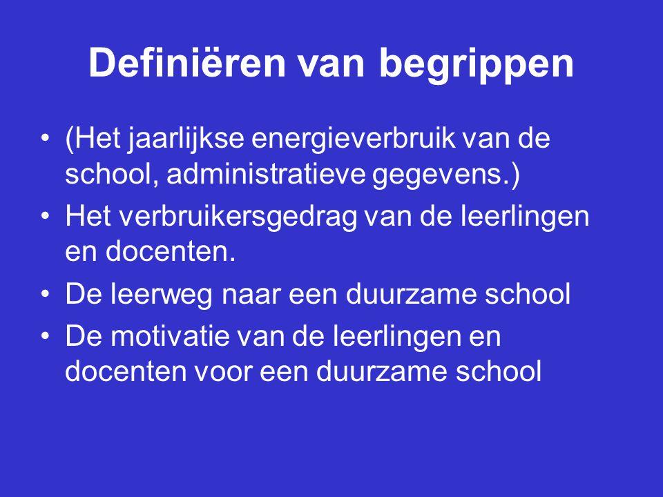 Definiëren van begrippen (Het jaarlijkse energieverbruik van de school, administratieve gegevens.) Het verbruikersgedrag van de leerlingen en docenten.