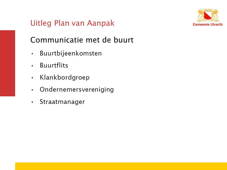 Uitleg Plan van Aanpak Communicatie met de buurt Buurtbijeenkomsten Buurtflits Klankbordgroep Ondernemersvereniging Straatmanager