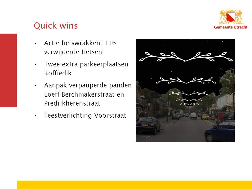 Quick wins Actie fietswrakken: 116 verwijderde fietsen Twee extra parkeerplaatsen Koffiedik Aanpak verpauperde panden Loeff Berchmakerstraat en Predrikherenstraat Feestverlichting Voorstraat