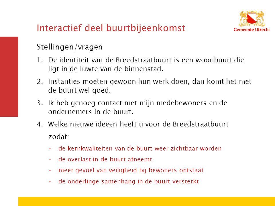 Interactief deel buurtbijeenkomst Stellingen/vragen 1.De identiteit van de Breedstraatbuurt is een woonbuurt die ligt in de luwte van de binnenstad.