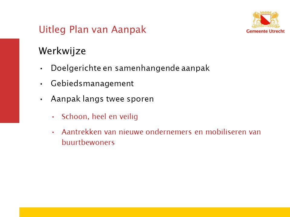 Uitleg Plan van Aanpak Werkwijze Doelgerichte en samenhangende aanpak Gebiedsmanagement Aanpak langs twee sporen Schoon, heel en veilig Aantrekken van nieuwe ondernemers en mobiliseren van buurtbewoners
