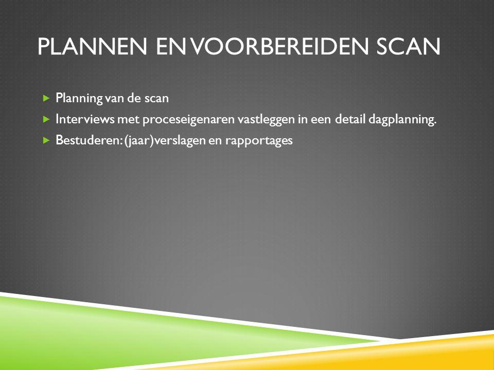 UITVOEREN BEDRIJFSSCAN  Twee consultants voeren scan uit en interviewen de proceseigenaren  Complete bedrijfsscan duurt maximaal twee dagen, afhankelijk van aantal te scannen bedrijfsprocessen, zie 'Inhoud scan'  Aan het eind van de scan word een eerste indruk van de scan gepresenteerd aan de DGA en de proceseigenaren.