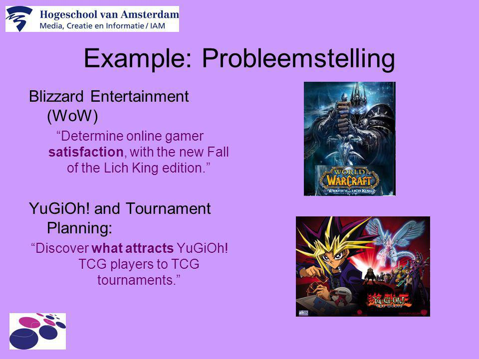 """Example: Probleemstelling Blizzard Entertainment (WoW) """"Determine online gamer satisfaction, with the new Fall of the Lich King edition."""" YuGiOh! and"""