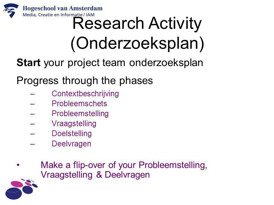 Research Activity (Onderzoeksplan) Start your project team onderzoeksplan Progress through the phases –Contextbeschrijving –Probleemschets –Probleemst