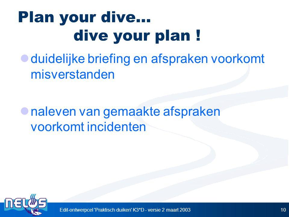 Edit-ontwerpcel 'Praktisch duiken' K3*D - versie 2 maart 200310 Plan your dive... dive your plan ! duidelijke briefing en afspraken voorkomt misversta