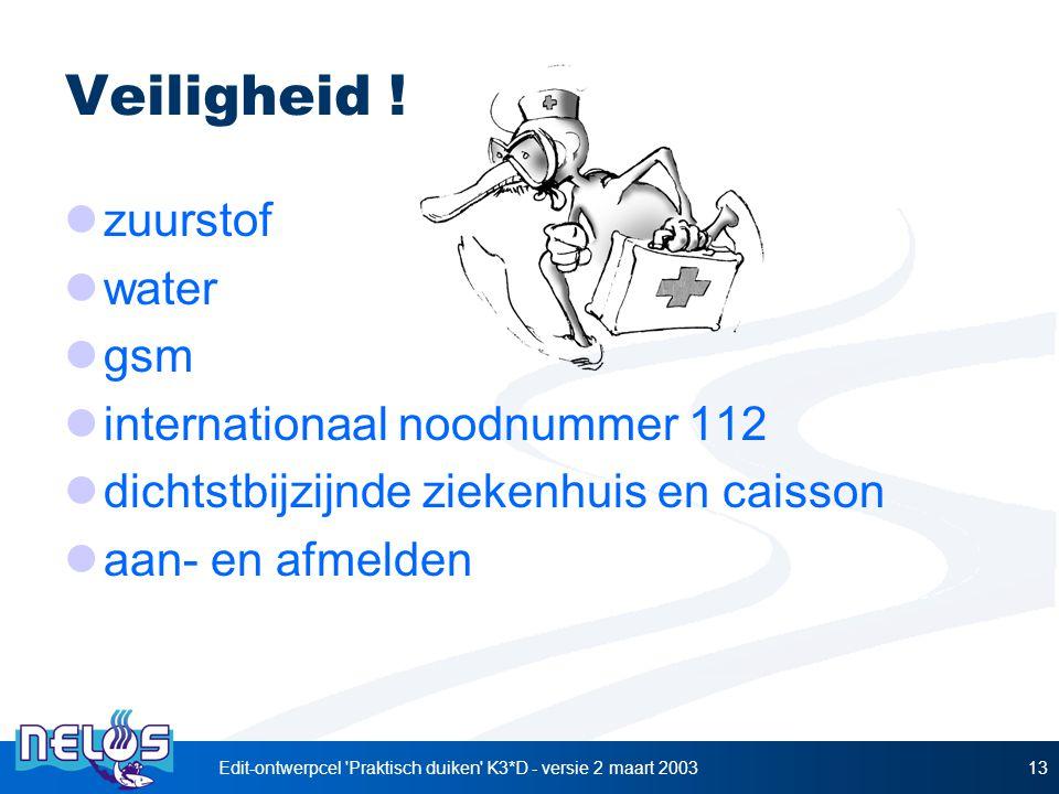 Edit-ontwerpcel 'Praktisch duiken' K3*D - versie 2 maart 200313 Veiligheid ! zuurstof water gsm internationaal noodnummer 112 dichtstbijzijnde ziekenh