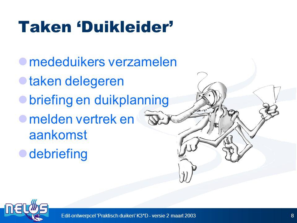 Edit-ontwerpcel 'Praktisch duiken' K3*D - versie 2 maart 20038 Taken 'Duikleider' mededuikers verzamelen taken delegeren briefing en duikplanning meld