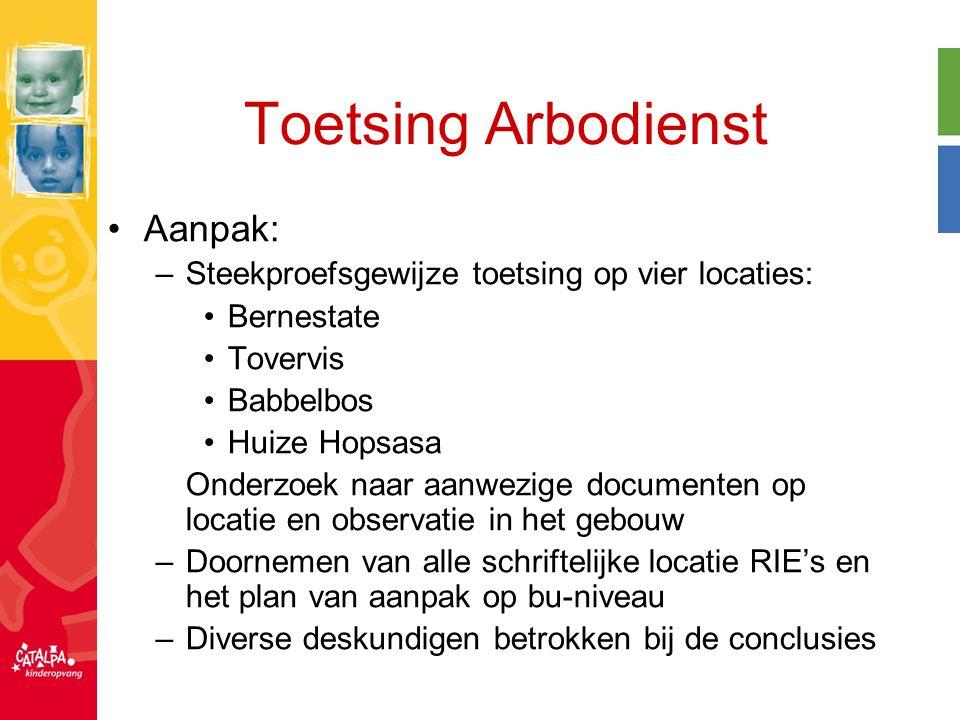 Toetsing Arbodienst Aanpak: –Steekproefsgewijze toetsing op vier locaties: Bernestate Tovervis Babbelbos Huize Hopsasa Onderzoek naar aanwezige docume