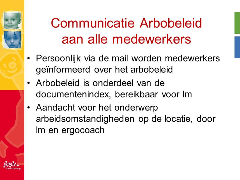 Communicatie Arbobeleid aan alle medewerkers Persoonlijk via de mail worden medewerkers geïnformeerd over het arbobeleid Arbobeleid is onderdeel van d