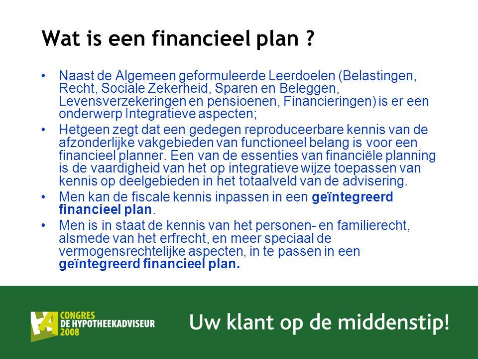 Wat is een financieel plan ? Naast de Algemeen geformuleerde Leerdoelen (Belastingen, Recht, Sociale Zekerheid, Sparen en Beleggen, Levensverzekeringe