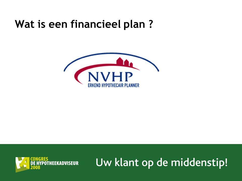 Wat is een financieel plan De Erkend Hypothecair Planner inventariseert uw persoonlijke situatie en uw toekomstplannen en wensen.