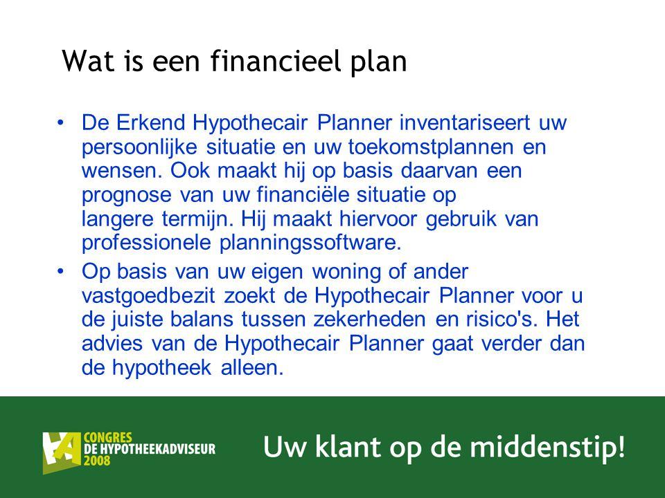 Wat is een financieel plan De Erkend Hypothecair Planner inventariseert uw persoonlijke situatie en uw toekomstplannen en wensen. Ook maakt hij op bas