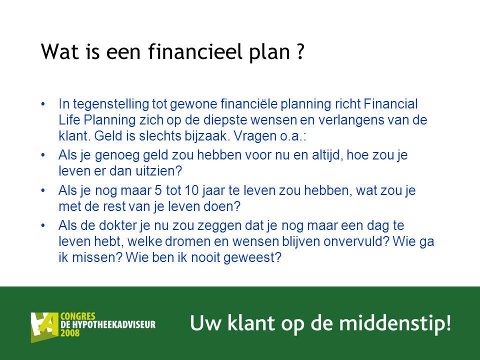 In tegenstelling tot gewone financiële planning richt Financial Life Planning zich op de diepste wensen en verlangens van de klant. Geld is slechts bi