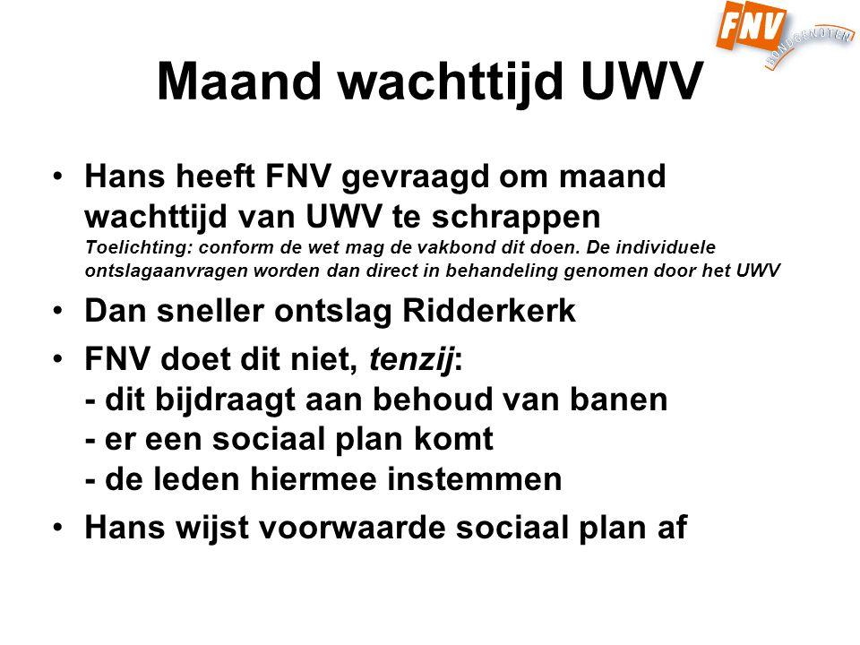 Maand wachttijd UWV Hans heeft FNV gevraagd om maand wachttijd van UWV te schrappen Toelichting: conform de wet mag de vakbond dit doen.
