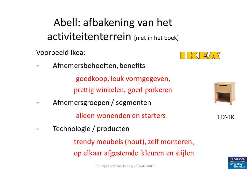 Voorbeeld Ikea: - Afnemersbehoeften, benefits goedkoop, leuk vormgegeven, prettig winkelen, goed parkeren - Afnemersgroepen / segmenten alleen wonende