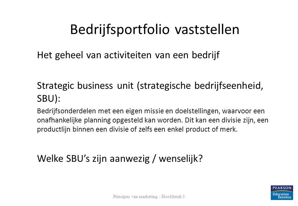 Het geheel van activiteiten van een bedrijf Strategic business unit (strategische bedrijfseenheid, SBU): Bedrijfsonderdelen met een eigen missie en do