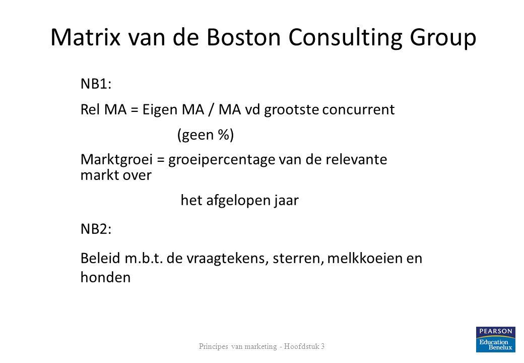 Principes van marketing - Hoofdstuk 3 23 NB1: Rel MA = Eigen MA / MA vd grootste concurrent (geen %) Marktgroei = groeipercentage van de relevante mar