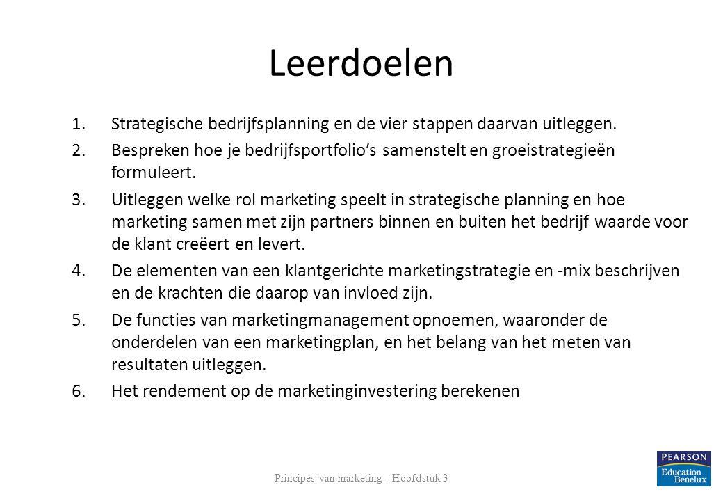 Leerdoelen 1.Strategische bedrijfsplanning en de vier stappen daarvan uitleggen. 2.Bespreken hoe je bedrijfsportfolio's samenstelt en groeistrategieën