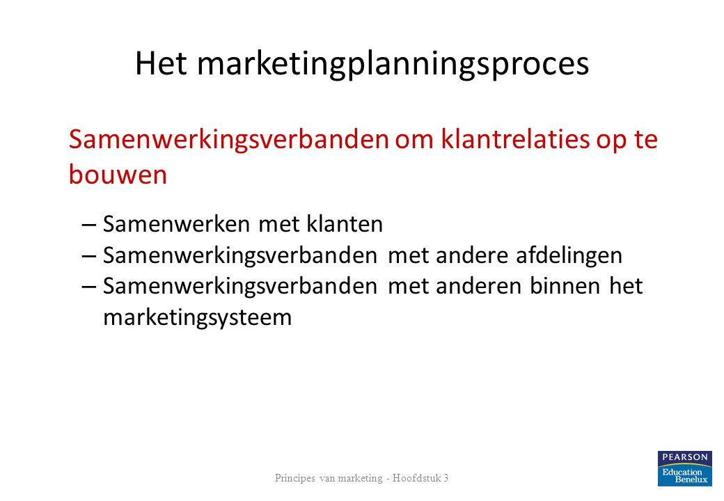 Het marketingplanningsproces Samenwerkingsverbanden om klantrelaties op te bouwen – Samenwerken met klanten – Samenwerkingsverbanden met andere afdeli