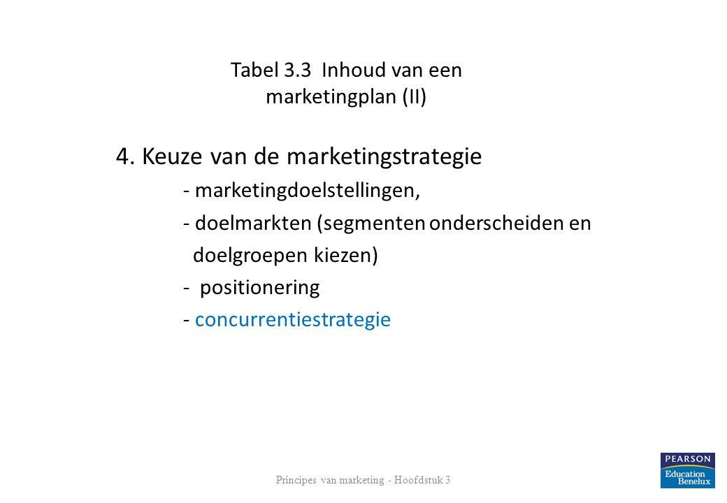 Tabel 3.3 Inhoud van een marketingplan (II) 4. Keuze van de marketingstrategie - marketingdoelstellingen, - doelmarkten (segmenten onderscheiden en do