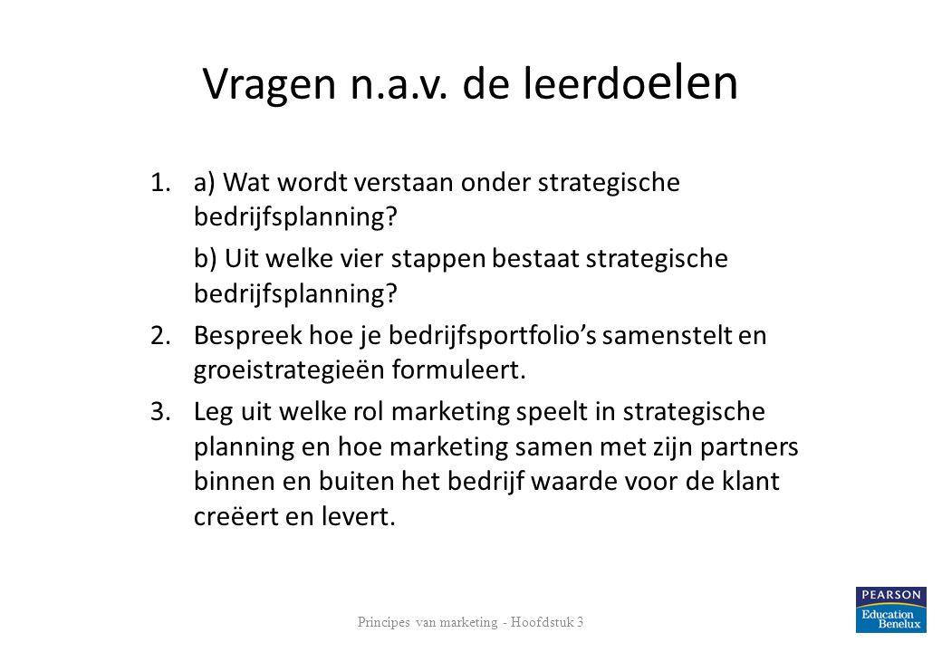 Vragen n.a.v. de leerdo elen 1.a) Wat wordt verstaan onder strategische bedrijfsplanning? b) Uit welke vier stappen bestaat strategische bedrijfsplann