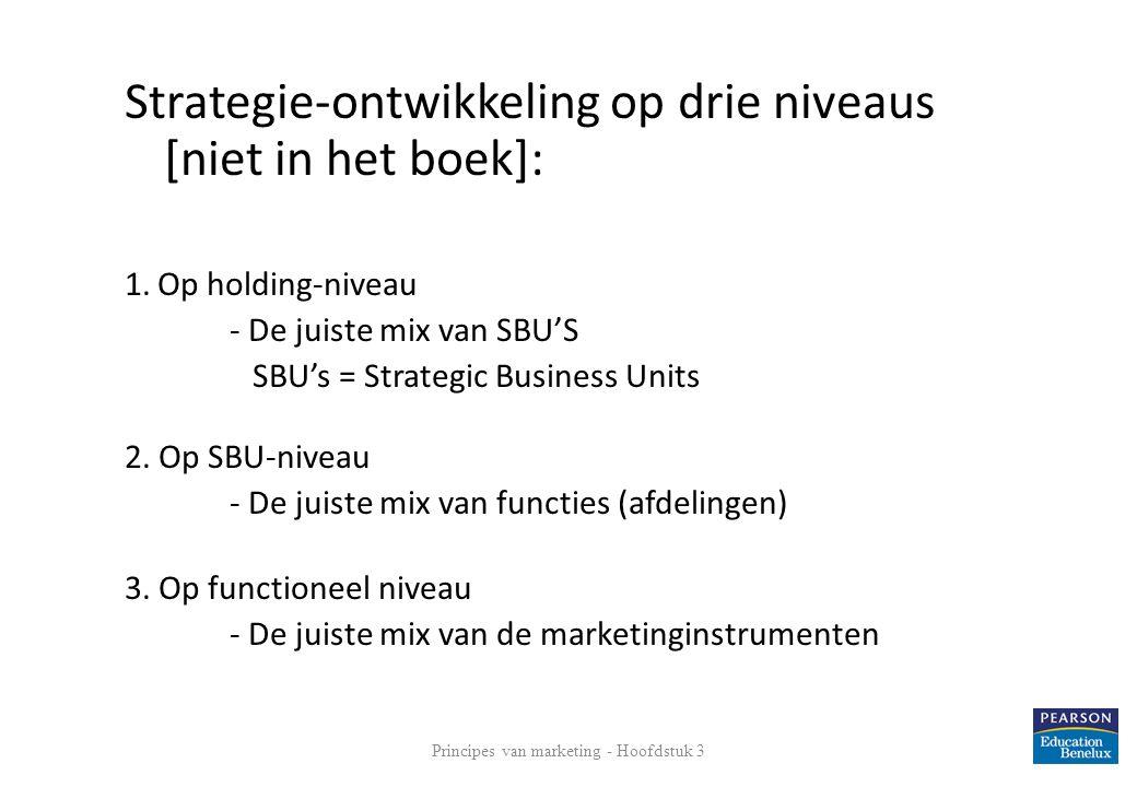Strategie-ontwikkeling op drie niveaus [niet in het boek]: 1. Op holding-niveau - De juiste mix van SBU'S SBU's = Strategic Business Units 2. Op SBU-n