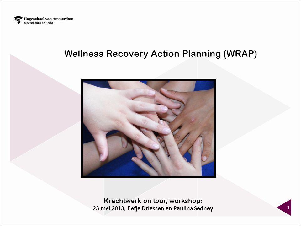 WRAP SESSIES: 8 á 10 (wekelijkse) sessies, in grote lijnen voorgestructureerde bijeenkomsten, geleid door mensen die al langere tijd stabiel zijn (van hun psychiatrische aandoening) ontwikkelen van persoonlijk plan om herstel te bereiken & te behouden door te leren hoe wellness in te zetten als strategie Instructietechnieken zijn oa gebaseerd op: peer modeling 12