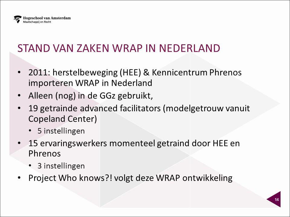 STAND VAN ZAKEN WRAP IN NEDERLAND 2011: herstelbeweging (HEE) & Kennicentrum Phrenos importeren WRAP in Nederland Alleen (nog) in de GGz gebruikt, 19