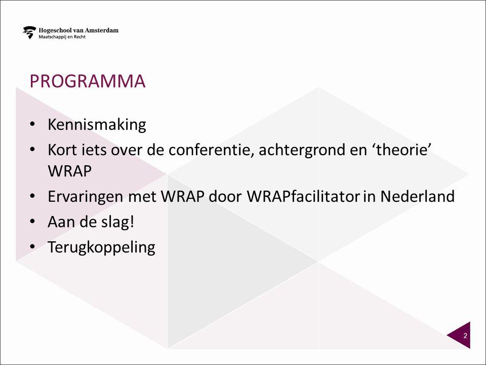 PROGRAMMA Kennismaking Kort iets over de conferentie, achtergrond en 'theorie' WRAP Ervaringen met WRAP door WRAPfacilitator in Nederland Aan de slag!