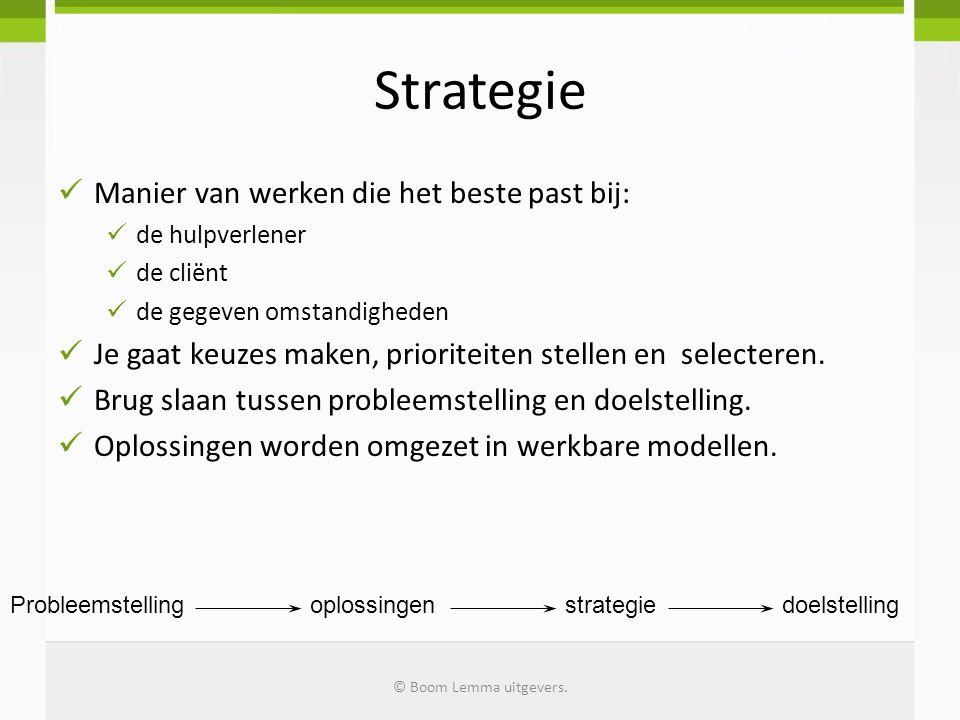 Strategie Manier van werken die het beste past bij: de hulpverlener de cliënt de gegeven omstandigheden Je gaat keuzes maken, prioriteiten stellen en