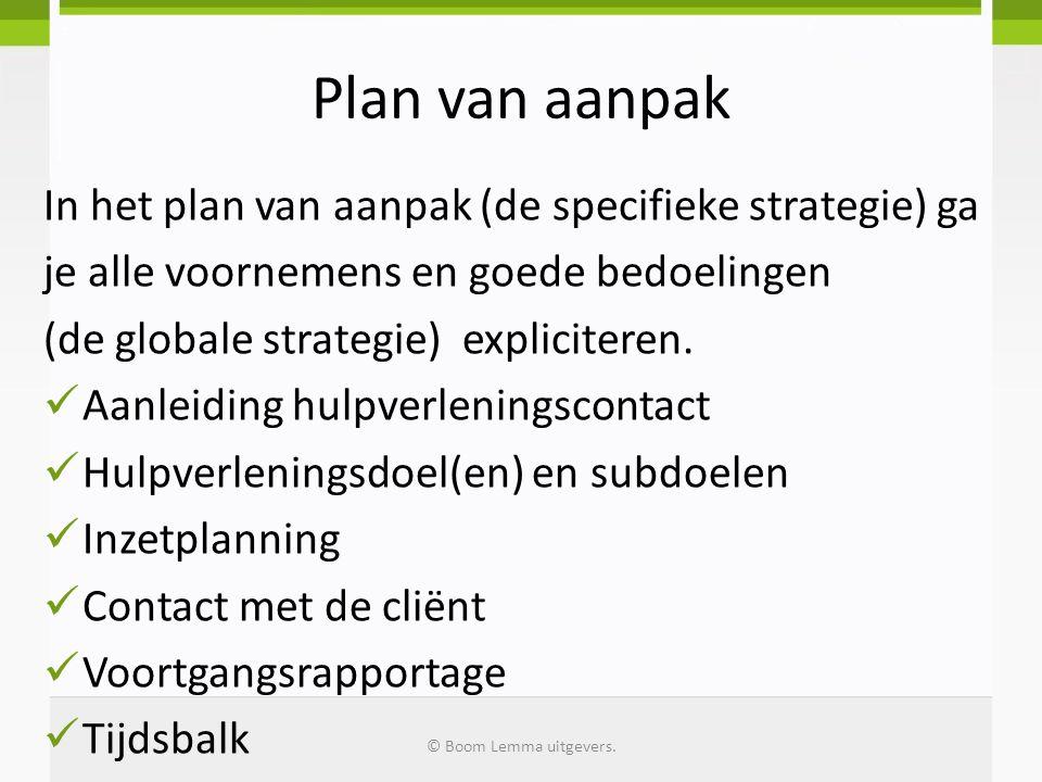 Plan van aanpak In het plan van aanpak (de specifieke strategie) ga je alle voornemens en goede bedoelingen (de globale strategie) expliciteren. Aanle