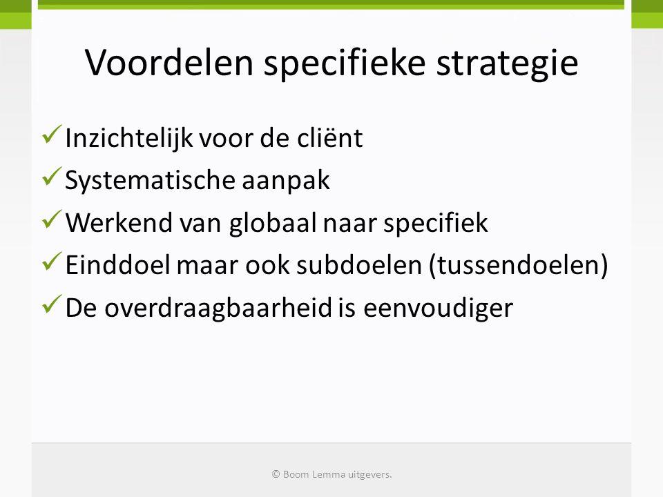 Voordelen specifieke strategie Inzichtelijk voor de cliënt Systematische aanpak Werkend van globaal naar specifiek Einddoel maar ook subdoelen (tussen