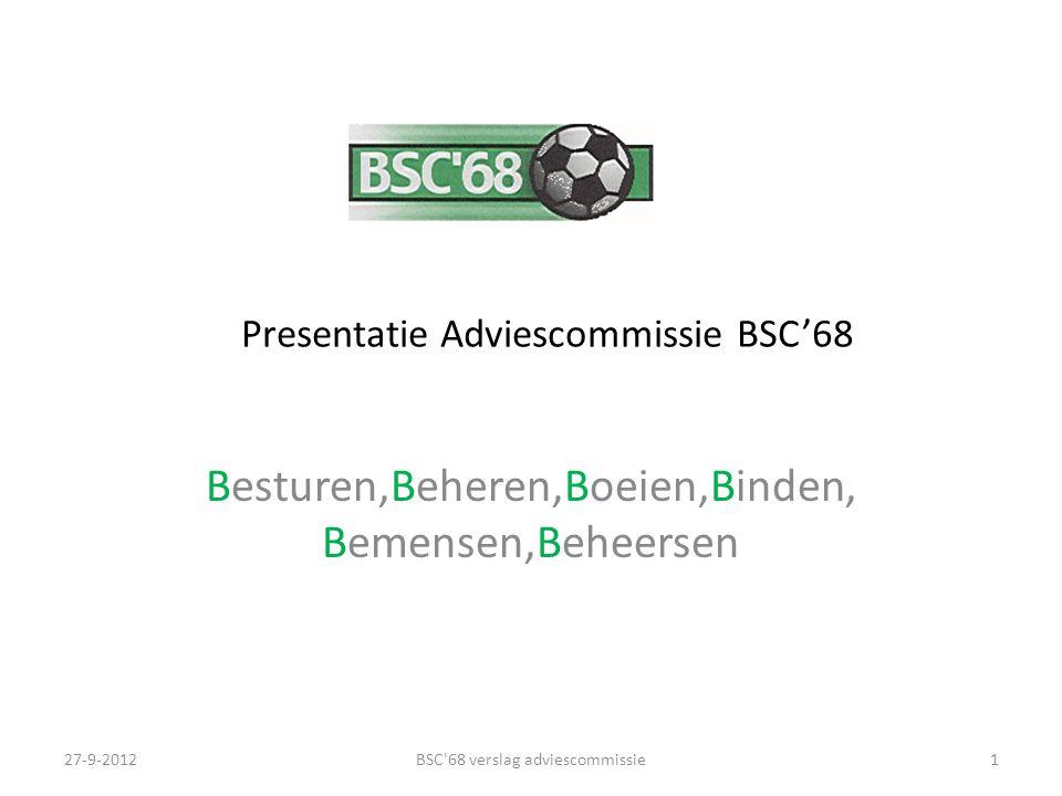 Presentatie Adviescommissie BSC'68 Besturen,Beheren,Boeien,Binden, Bemensen,Beheersen 27-9-2012BSC'68 verslag adviescommissie1