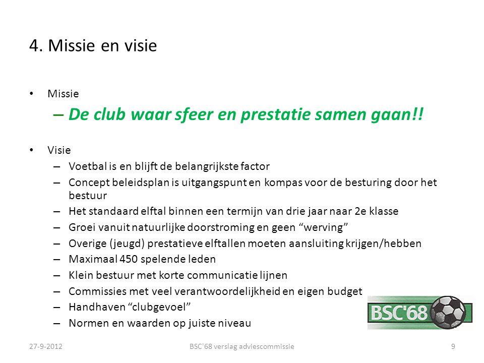 4. Missie en visie Missie – De club waar sfeer en prestatie samen gaan!! Visie – Voetbal is en blijft de belangrijkste factor – Concept beleidsplan is