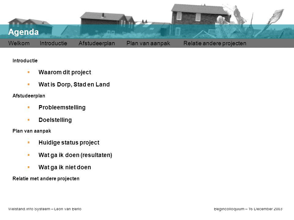 Welstand.info Systeem – Léon van BerloBegincolloquium – 16 December 2003 Welkom Introductie Afstudeerplan Plan van aanpak Relatie andere projecten Age