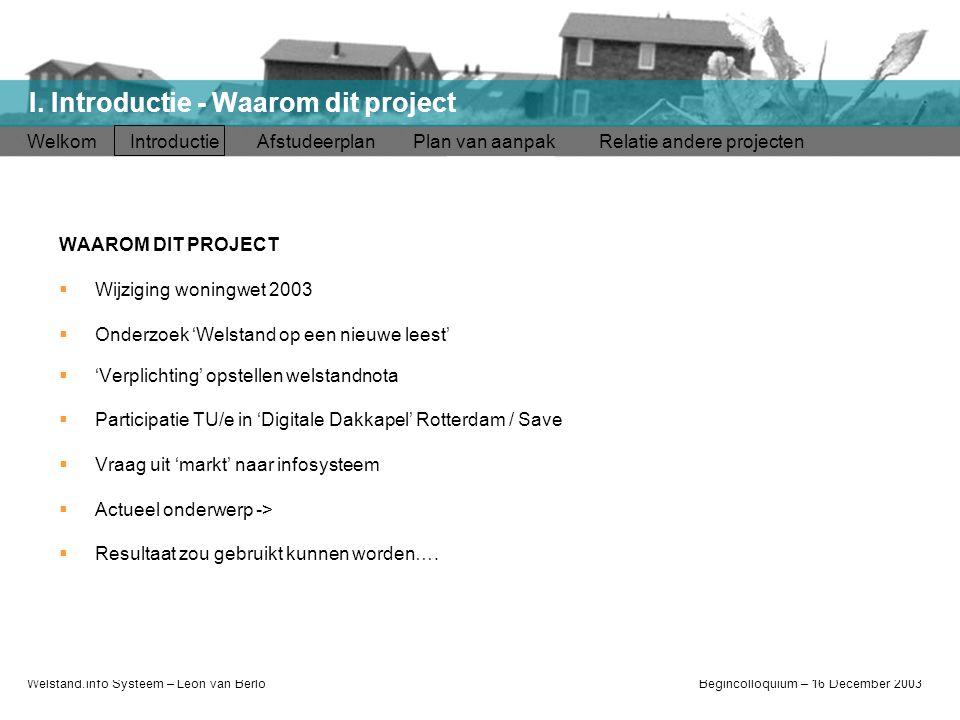 Welstand.info Systeem – Léon van BerloBegincolloquium – 16 December 2003 Welkom Introductie Afstudeerplan Plan van aanpak Relatie andere projecten I.