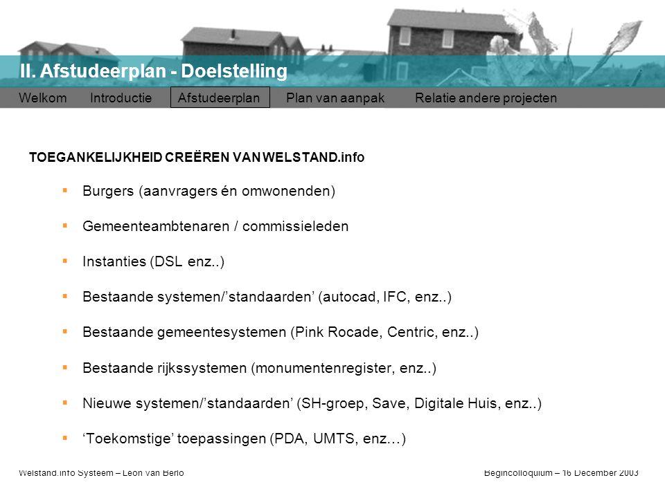 Welstand.info Systeem – Léon van BerloBegincolloquium – 16 December 2003 Welkom Introductie Afstudeerplan Plan van aanpak Relatie andere projecten II.