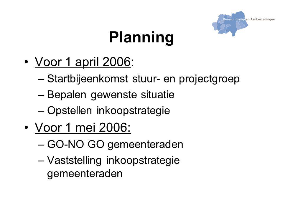 Planning Voor 1 april 2006: –Startbijeenkomst stuur- en projectgroep –Bepalen gewenste situatie –Opstellen inkoopstrategie Voor 1 mei 2006: –GO-NO GO gemeenteraden –Vaststelling inkoopstrategie gemeenteraden