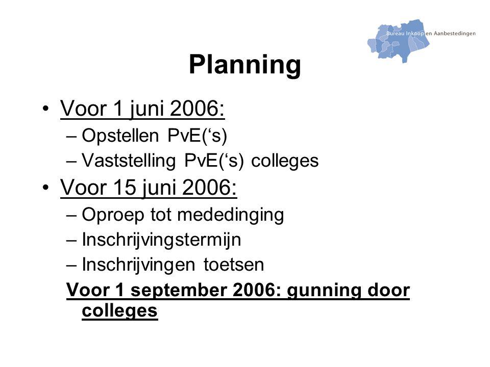 Planning Voor 1 juni 2006: –Opstellen PvE('s) –Vaststelling PvE('s) colleges Voor 15 juni 2006: –Oproep tot mededinging –Inschrijvingstermijn –Inschrijvingen toetsen Voor 1 september 2006: gunning door colleges