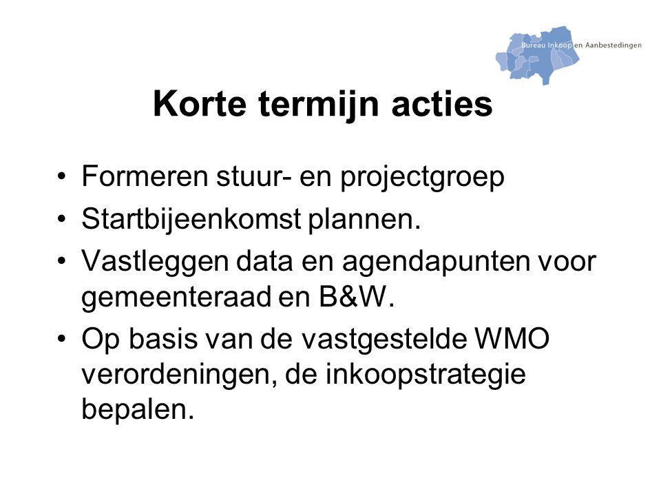 Korte termijn acties Formeren stuur- en projectgroep Startbijeenkomst plannen.